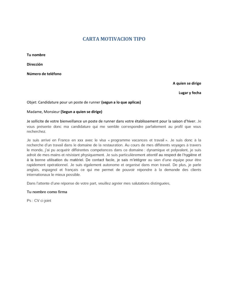 Cv Y Carta De Motivación En Francés Working Holiday Visa